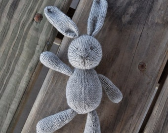 Knit Bunny, Grey Bunny, Handmade Doll, Baby Soft Toy, Plush Doll, Bunny Photo Prop, Wool Toy, Stuffed Bunny Rabbit, Stuffed Animal, Knit Toy
