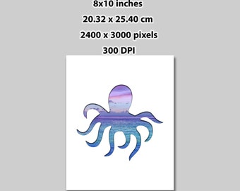Instant Download, 8x10 in, Octopus Ocean View Silhouette Poster Art Print (1028) Printable Room Decor, Wall Decor Print At Home
