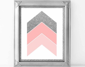 Chevron Arrows Pink and Silver wall art print, Silver and Pink nursery decor 8x10, Wall art printable, Abstract Wall Art, Digital File.