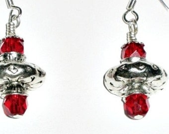 Ruby Red....SATURN GLOBE Earrings