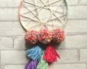Rainbow Pom Pom Tassel Dreamcatcher Wallhanging Boho Hippie Bohemian Bedroom Sweet Dreams Home Decor