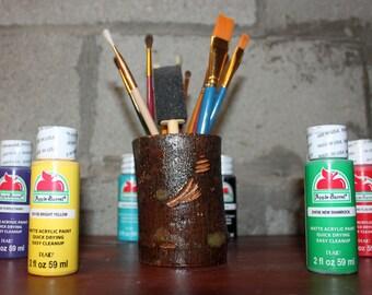 Rustic Log Pencil Holder / Pen Holder / Paintbrush Holder / Utility Holder / Utensil Holder
