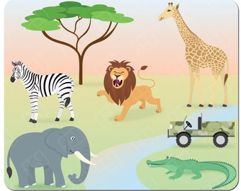 Safari animals, savannah, lion, zebra, elephant, crocodile, giraffe, clipart commercial use, vector graphics, digital - Instant Download