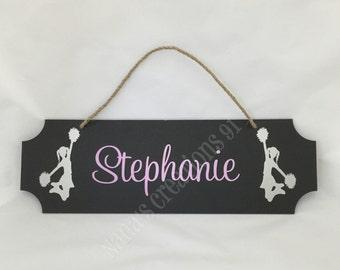 Custom Cheerleader Sign-Kids Bedroom Door Sign-Chalkboard Door Signs-Personalized Chalkboard Sign-Kids Cheerleader Chalkboard Signs