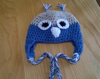 Baby Owl Hat in Blue