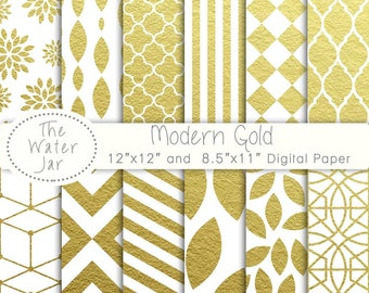Gold digital paper pack, metallic gold geometric and gold floral digital papers