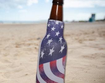 4th of July American Flag Neoprene Slip On 12 oz. Bottle Insulator, Bottle Hugger, Bottle Cooler.  Perfect for Summer, Beach and BBQs