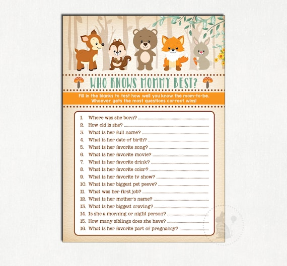 Woodland Baby Shower Game. Who Knows Mommy Best. Rustic Baby