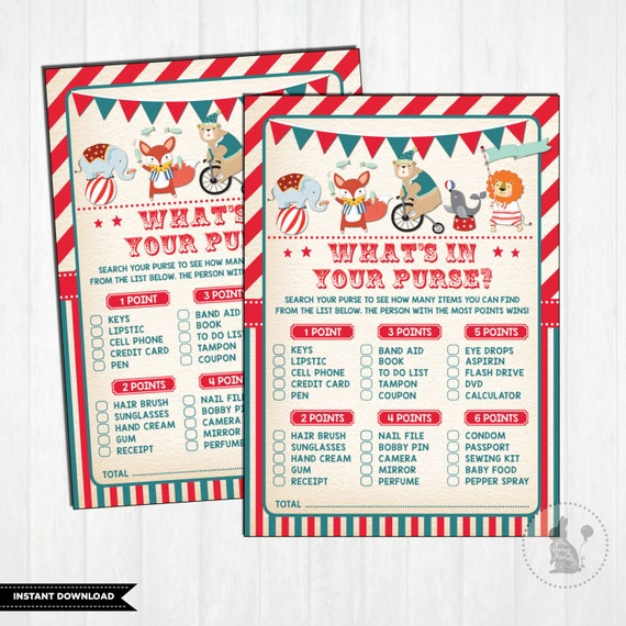 Carnival BABY SHOWER GAME. Whats In Your Purse. Vintage Circus Baby Shower  Games. Carnival Baby Activity. Retro. Instant Download. CAR1