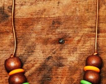 Wooden Bead Necklace, eco friendly, earthy tones