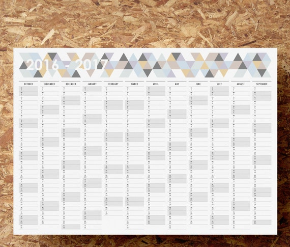 Mid Year Calendar : Printable pdf a mid year wall planner  by maylemmade