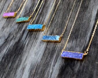 Sideways Bar Druzy Necklace, Geometric Rectangle Druzy Bar, Horizontal Black Blue Purple Bar Druzy, Raw Crystal, Natural Stone Quartz Drusy