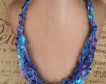 Royal Blue & Turquoise Crocheted Ladder/Ribbon Yarn Multi Strand Necklace