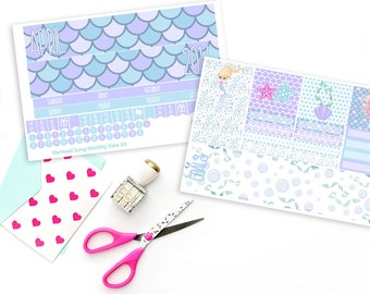 Mermaids Song Monthly View Planner Sticker Kit for Erin Condren Planners or Recollections Spiral Planners