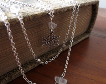 Snowflake Necklace, Winter Necklace, Silver Necklace, Crystal Necklace, Charm Necklace, Gemstone Necklace