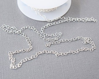 Sterling Silver 2.8mm Heart Chain, Silver Chain Bulk, Silver Hearts, Choker Chain,  Sterling Silver Chain by the foot, Unfinished, SS660