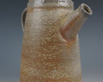 Coffee Pot - Anagama Wood Fired - Raw Ash Glaze