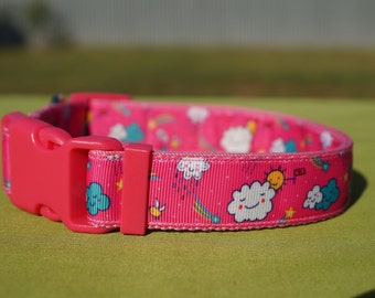 Happy clouds and rainbows / Large dog collar