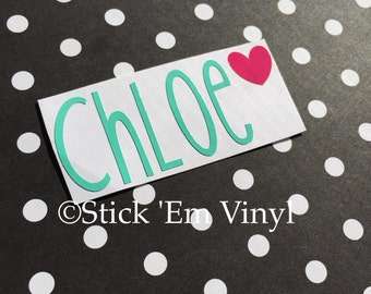 Name Decal with heart | Custom Heart Decal | Personalized Name Decal | Any Word Sticker | Custom Decal | Yeti Cup Decal  | Vinyl Decal