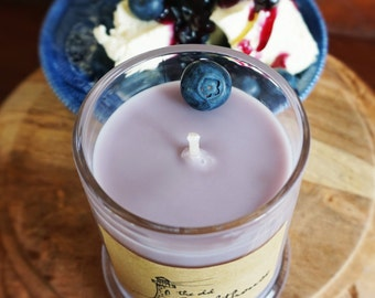 Blueberry Cheesecake Scented Premium Natural Soy Wax Container Candle In Medium Apothecary Glass Jar With Lid