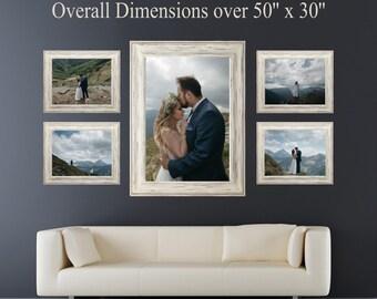 Photo Wall Display, Photo Canvas Display, One 20x30 AND Four 11x14, Wedding Photo Canvas Display, Photo Collage Display, Canvas Set or Print