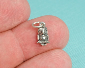 Sterling Silver Small Owl Bracelet Charm, Nature, Wilderness, Forest, Jewelry, .925 Silver, DIY Charm Bracelet, (CHARM027)