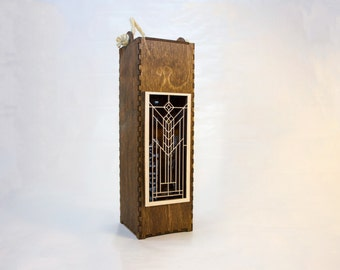 Wooden Wine Gift Box with Laser Engraving-Frank Lloyd Wright Inspired