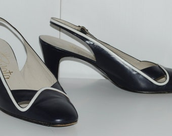 Vintage 80's navy blue leather slingback shoes RENATA Size 38 FR