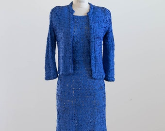 Vintage 1950s Ribbon Knit Cobalt Blue Dress with Matching Jacket