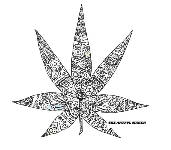 Sweet leaf adult coloring page by the artful maker for Marijuana coloring pages