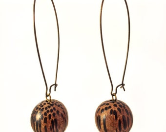 Earrings exotic wood beads