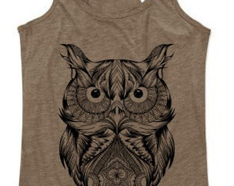 Mottled Owl Mandala Brown tank top