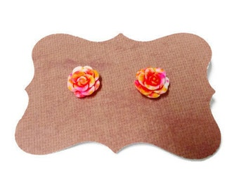 Pink and Orange Flower Stud Earrings