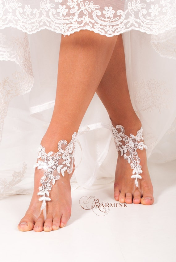 Lace Barefoot Sandals Bridal Footless Shoes