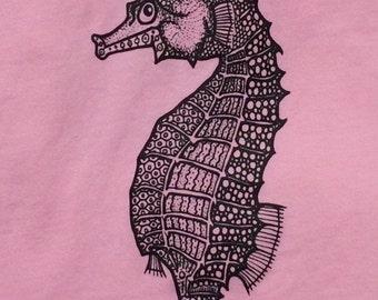 Seahorse t-shirt, Pink or White, Girls sizes, 100% cotton, original design, cute!!