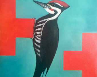 Pileated Woodpecker on Red Cross