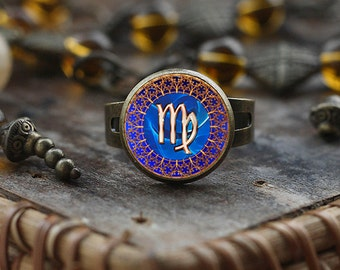Virgo Zodiac ring, Virgo ring, Virgo Zodiac Jewelry, Virgo constellation ring, Virgo Zodiac Sign ring, Astrology ring