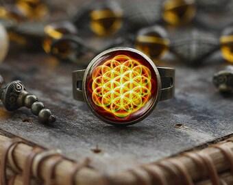 Flower of Life ring, Sacred Geometry ring, Flower of Life mandala, Yoga ring,  Flower of Life Jewelry, Sacred Geometry Jewelry