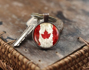 Canada Flag Keychain, Toronto Ottawa Canada Keychain, Flag Keychain, Canada Maple Leaf Flag Keychain, Canada Patriotic gift