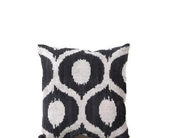 14 x 14 Uzbek hand-woven black & white ikat pillow cover in silk velvet