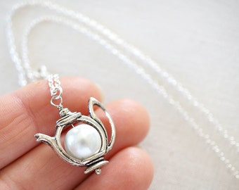 White Pearl Teapot Necklace Coffee Gift Foodie Gift Sterling Silver Chain Silver Teapot Pearl Necklace Tiny Teapot Charm Alice in Wonderland