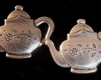 Tea Pot Kettle Post Earring Silver Plate Floral Pattern Tea Time Tea For Two Gift ES119