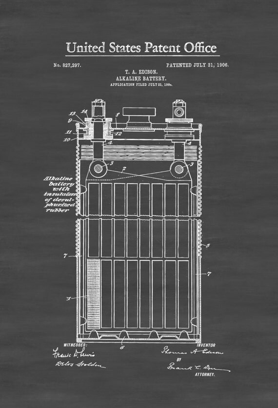 edison alkaline battery patent 1906 edison patent edison