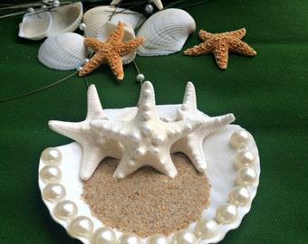Seashell ring holder, wedding seashell decorations, beach themed wedding, starfish decorations, ring bearer pillow, wedding rings holder