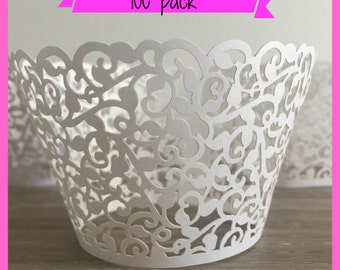 100 Wedding Cupcake Liners Laser Cut -  Lace Cupcake Liners - Filigree Cupcake Liners Engagement White Cupcake Liners Bridal Shower Cupcake