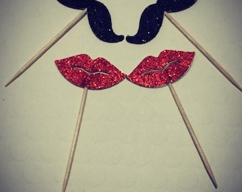 Mustache and Lips Cupcake Toppers