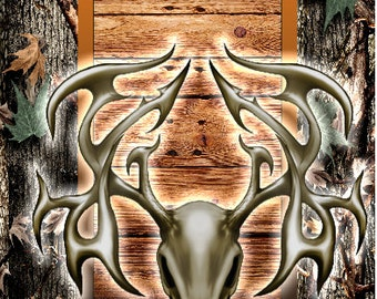 Deer Skull Camo Wood Vines LAMINATED Cornhole Wrap Bag Toss Decal Baggo Skin Sticker Wraps