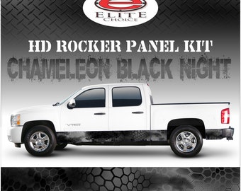 "Chameleon Hex Black Night Camo Rocker Panel Graphic Decal Wrap Truck SUV - 12"" x 24FT"