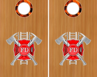 """FireFighter Maltese Cross Fire Flames 18"""" Cornhole Board Baggo Decal Stickers W/ Hole Rings"""