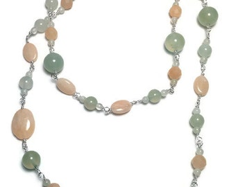 Long Honey and Green Jade Beaded Necklace